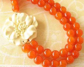 Statement Necklace Beaded Necklace Flower Necklace Orange Jewelry Orange Necklace Bridesmaid Jewelry Gift For Her Bib