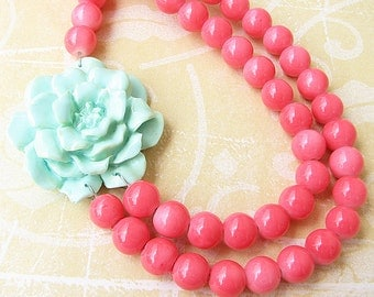 Flower Necklace Statement Necklace Beaded Necklace Coral Jewelry Mint Necklace Bridesmaid Jewelry Gift For Her