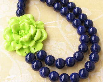 Statement Necklace Navy Blue Jewelry Beaded Necklace Lime Green Flower Necklace