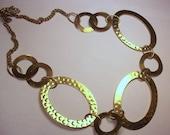 Vintage Goldtone Necklace with Extra Large Hammered Links