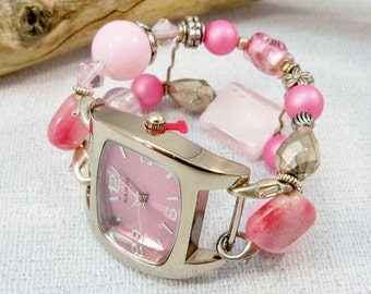 Pink Watch with Interchangeable Band/Pink and Silver/Beaded Watch/Double Strand Watch/Stretch Band Watch