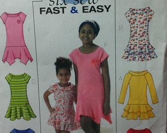 Girls Drop Waist Knit Dress with Options 10 12 14 Butterick 4544