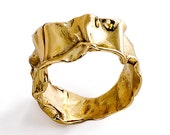CRUMPLED 14k Yellow Gold Ring for women, Unique Gold Ring, Mens gold band, custom gold ring, italian fine jewelry