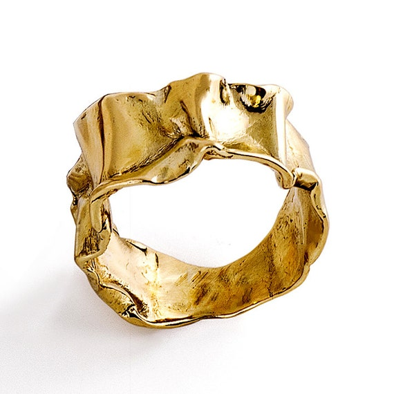 crumpled 14k yellow gold ring for unique gold ring