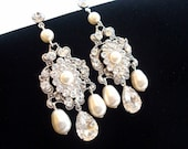 Bridal chandelier earrings, dramatic earrings,  Swarovski crystal earrings, Swarovski pearls, antique silver