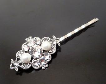 Bridal hair pin, Swarovski crystal hair pin, Bridal hair comb, Wedding hair pin, Antique silver hair pin, Wedding Hair accessories, ASHLYN