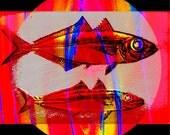 Red Fish Digital Art Abstract Realism Aquatic Nautical Wildlife Swimming River Lake Ocean Estuary Water Rural Setting Giclee Print 8 x 8