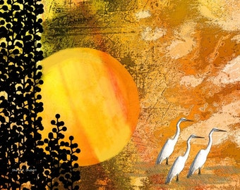 Egret Art, Heron Wall Hanging, Digital Bird, Hot Summer Sun, Vector Graphics, Black Yellow, Cabin and Home Decor, Giclee Print, 8 x 10