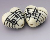 Ivory Music Heart Black Notes Treble Clef Handmade Lampwork Earring Pair Heather Behrendt BHV SRA LETeam