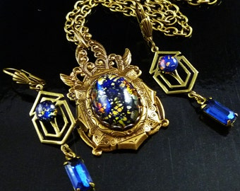 After Midnight Blue Opal Rhinestone Brass Necklace Set