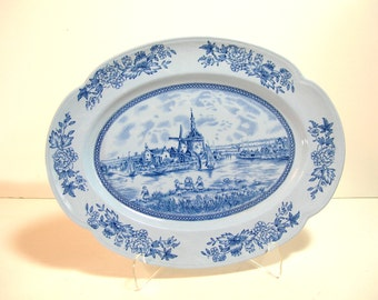 "Johnson Brothers Tulip Time Blue Backround 12"" Oval Platter"