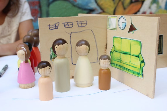 Wooden Doll House and Stickers - Small, Compact and Unpainted, Makes 4 Rooms