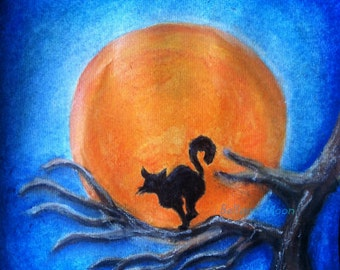 Black Cat in Tree, Moon Art, Watercolor Painting Original, Animal Art
