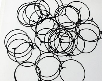 NEW Wholesale 100 pcs  - 25mm 1 inch Black Enamel Finished Wine Glass Hoops Simple hoop earwires - Ship from California USA