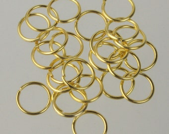 12mm Jump Rings, 50 Gold Plated Jump Rings Jumprings Open 12x1.2mm 16 Gauge 16G Link Connector Open Jump Rings - ship from California USA