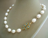 Lady Jane -- One of a Kind Aquamarine and Baroque Pearl Necklace