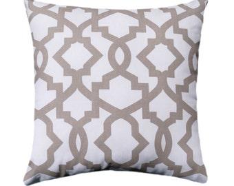 Geometric STUFFED Pillow - Sheffield Ecru Gate Work Throw Pillow - Lattice Pillow - Taupe Pillow - Trellis Decorative Pillow - Free shipping