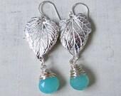 Sterling Silver Chandelier Earrings. Long Thin Silver Earrings. Leaf Earrings. Blue Gemstone Earring. Aquamarine Dangle Earrings
