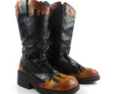 Paris Blues Boots Vintage 1990s Black Flames  Women's size 10