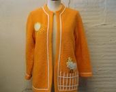 Cardigan Sweater Vintage 1960s White Orange Lee Herman Rooster