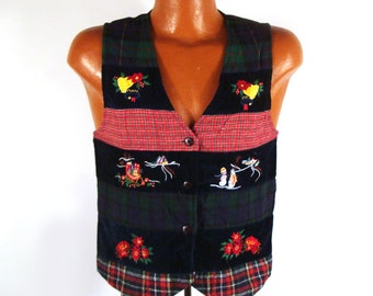 Ugly Christmas Sweater Vintage Cardigan Poinsettia Vest Tacky Holiday
