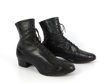 Victorian Black Boots Vintage Leather Lace up size