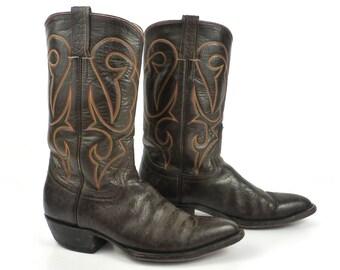 Cowboy Boots Vintage 1980s Leather Dark Brown Boots Men's size 10 1/2
