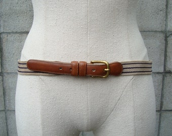 Coach Leather Belt Vintage 1980s  and Woven Fabric Blue and Carmel Brown Marked size 36