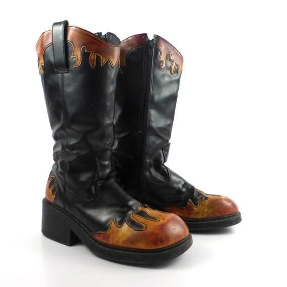 SALE // DEMONIA // Vintage 90s Goth Patent Leather Platform |1990s Womens Boots
