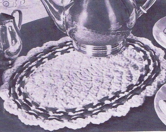 Vintage Crochet PATTERN 7007 Colonial Woven Hot Pad Plate Mat 1950s PDF Instant Download
