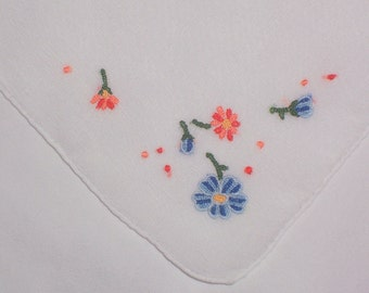 Vintage White Hanky with Embroidered Flowers and Handrolled Hem
