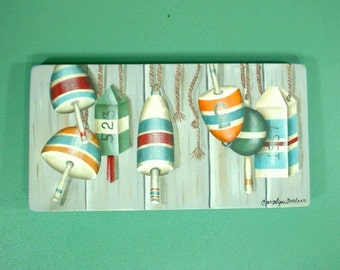 Fisherman Floats-Buoys Hand Painted Wood Plaque 539