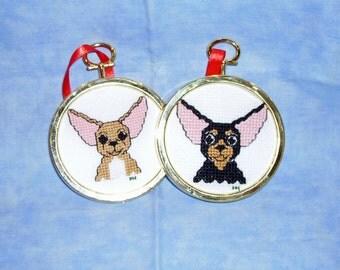 Chihuahua Cross Stitch Ornament