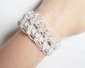 White Lacy Hemp Cuff Bracelet, MADE TO ORDER.