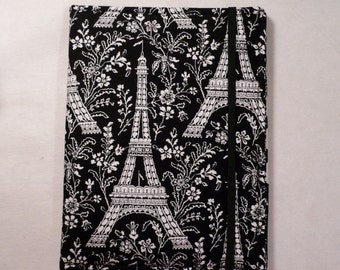 Kindle cover Hardcover, Kindle Fire, Kindle Paperwhite cover, Nook tablet, iPad Mini,   eReader Cover,  Book Style, Eiffel Tower in Black
