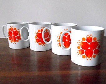 Modernist THOMAS Germany White and Orange Pinwheel Flower Porcelain Demitasse Cups, Retro Mod