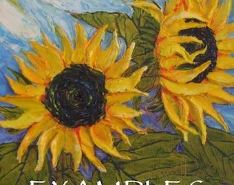 Custom Order for 18x18 Original Sunflower Impasto Oil Painting by Paris Wyatt Llanso