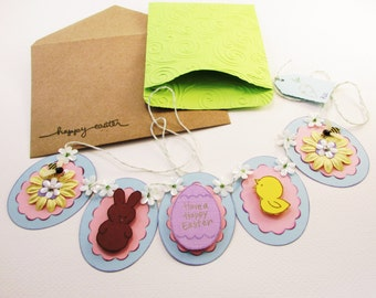 Easter Card - Banner Bunting - Home Decor - Greeting Card - Handmade Keepsake