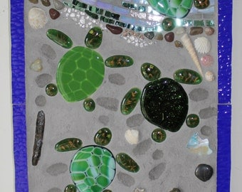 CLEARANCE SALE:  Mosaic, Stained Glass, Fused Glass, Baby Sea Turtles, Caretta, Ocean, Sea, Water, Beach, Shoreline, Sand
