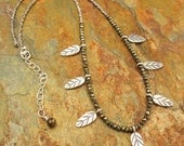 Pyrite Thai Hill Tribe Silver Necklace - Falling Leaves