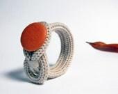 Knot bracelet, neutral wool  bracelet. Knitted jewelry. Knit bracelet. Pumpkin.