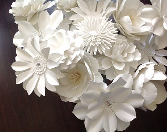 White Paper flowers set of 80 stems