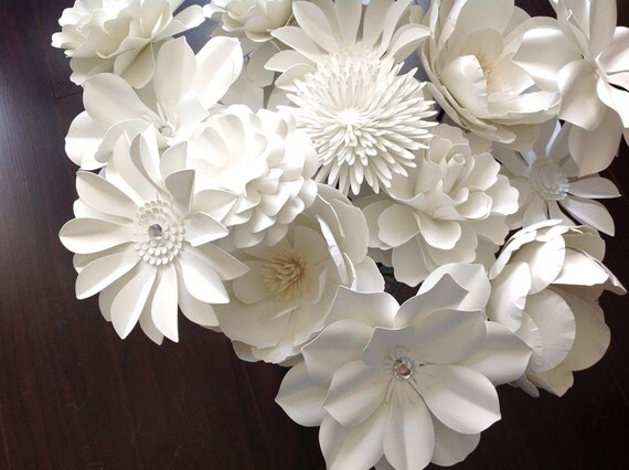White Paper flowers set of 20 stems