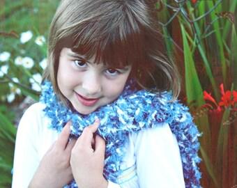 Matty Blues, Kids Winter Scarf, Warm and Fuzzy Boy or Girl, Children's Clothing, Kids Scarf, Handmade Scarf, Colorful Yarn, Crochet, Fashion