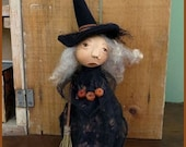 PRIMITIVE FOLK ART Halloween Witch Doll Make-Do with Broom