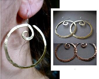 Medium Hanging Swirl  Earrings in Copper, Bronze, Sterling silver, 24k gold plate, Sterling silver plate or Black gunmetal plate - E001H-M