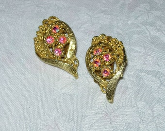 Vintage Rhinestone Earrings - Clip Ons