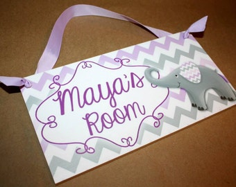 Purple and Gray Chevron Elephant DOOR SIGN Girls Bedroom Baby Nursery Personalized Wall Art DS0337