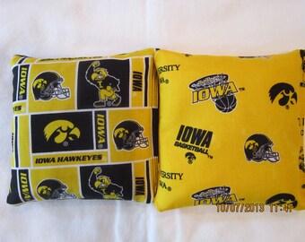University of Iowa Hawkeyes Cornhole Bags -FREE SHIPPING- Set of 8 - Cornhole or Baggo Bean Bag Toss