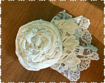 BHLDN Anthropologie Inspired Ivory Wedding Bridal Hair Flower Clip Rosette Vintage Inspired Pearls Shabby Chic Boho Lace